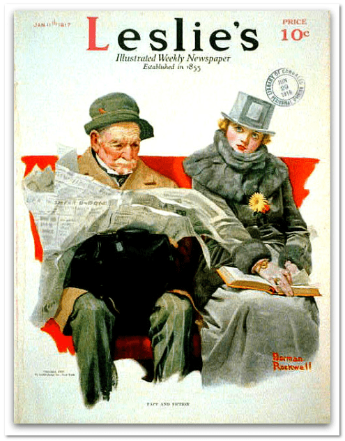 illustration of a man reading a newspaper; Leslie's Illustrated Weekly Newspaper, art by Norman Rockwell
