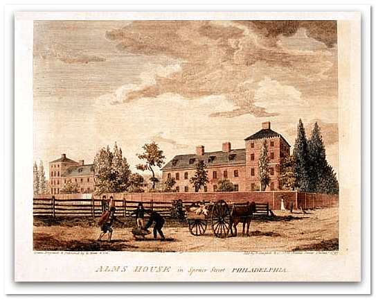 illustration of Philadelphia's Alms House, 1800