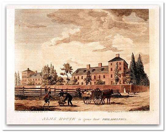 illustration of Philadelphia's Alms House, 1800