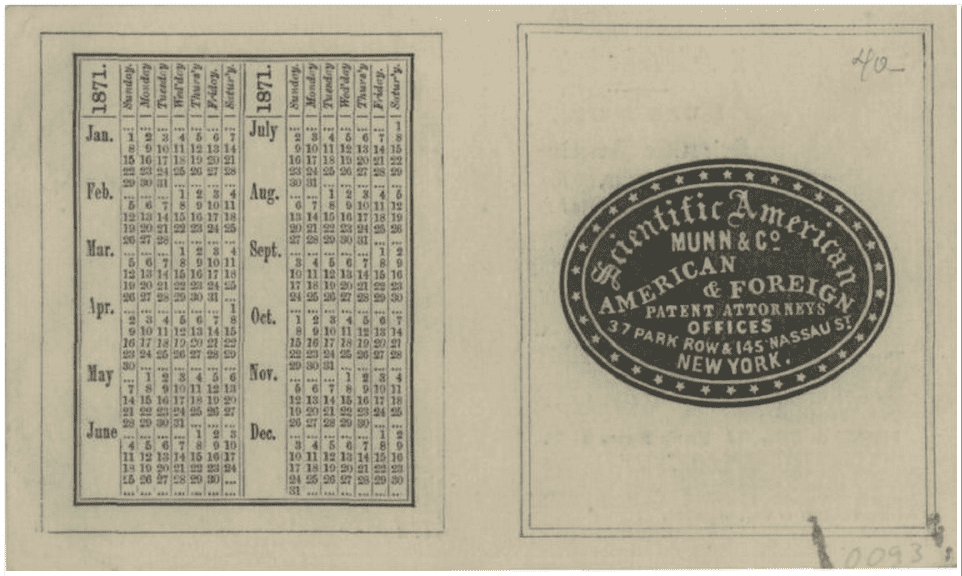 photo of an 1871 advertising card for Scientific American, Munn & Co., patent attorneys