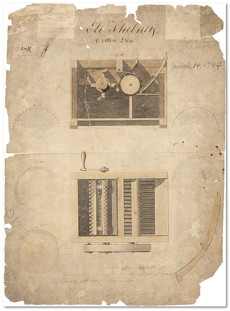 drawing of Eli Whitney's cotton gin