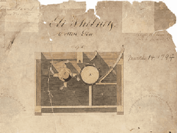 Illustration: detail from Eli Whitney's 1794 patent for the cotton gin