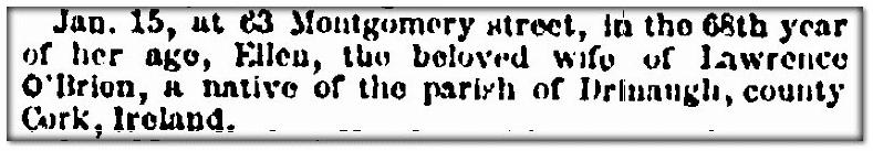 Ellen O'Brien obituary, Irish American Weekly newspaper article 29 January 1859