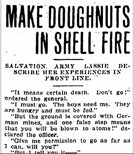 Make Doughnuts in Shell Fire, Kalamazoo Gazette newspaper article 18 May 1919