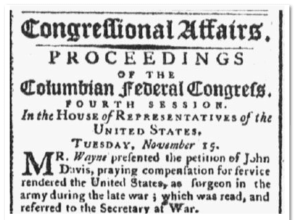 petition by John Davis, Massachusetts Spy newspaper article 1 December 1791