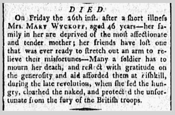 Mary Wyckoff obituary, Minerva newspaper 29 May 1797