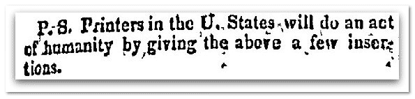 Catharine Logan's plea for information, National Advocate newspaper article 8 November 1816
