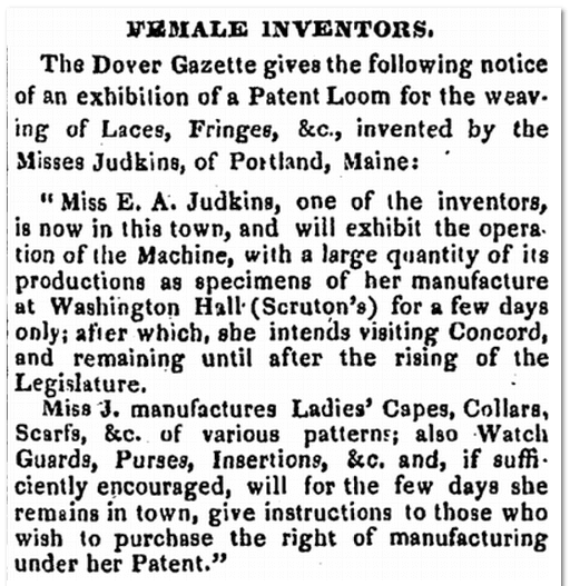 E. A. Judkins's patent, National Gazette newspaper article 2 July 1839