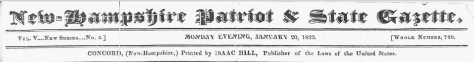 masthead, New-Hampshire Patriot newspaper 20 January 1823