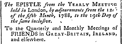 notice about a Quaker yearly meeting, New-York Morning Post newspaper article 30 September 1788