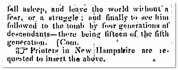 "the abbreviation ""com."" from the Newburyport Herald newspaper 7 August 1838"