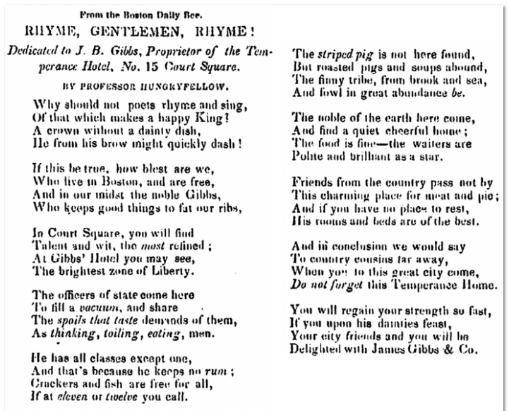 poem dedicated to J. B. Gibbs, Norfolk Democrat newspaper 29 March 1850