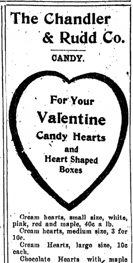 Valentine's Day candy ad, Plain Dealer newspaper 11 February 1910