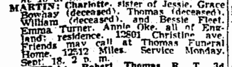 Charlotte Martin obituary, Plain Dealer newspaper article 17 September 1944