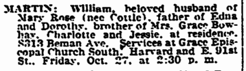 William Martin obituary, Plain Dealer newspaper article 26 October 1933