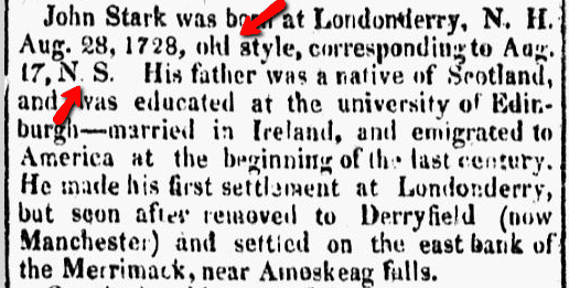 John Stark obituary, Republican Chronicle newspaper article 29 May 1822