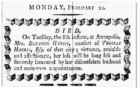 Eleanor Harris obituary, Republican newspaper article 22 February 1802