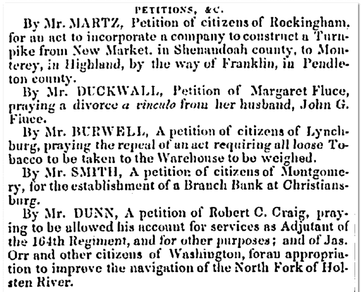citizens' petitions to the government, Richmond Whig newspaper article 1 January 1850