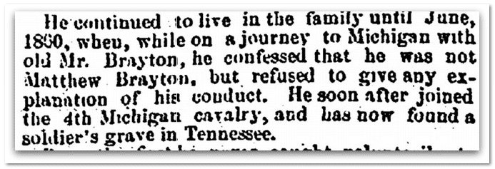 Mathew Brayton obituary, Salem Register newspaper article 23 February 1863