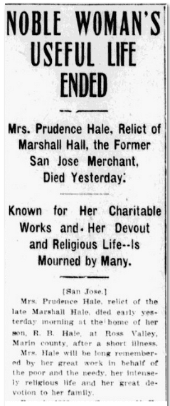Noble Woman's Useful Life Ended, San Jose Mercury News newspaper article 21 January 1907