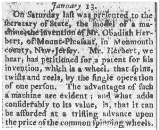 Obadiah Herbert's patent, Spooner's Vermont Journal newspaper article 14 February 1792