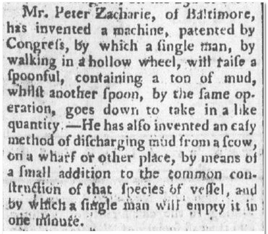 Peter Zacharie's patent, Spooner's Vermont Journal newspaper article 14 February 1792