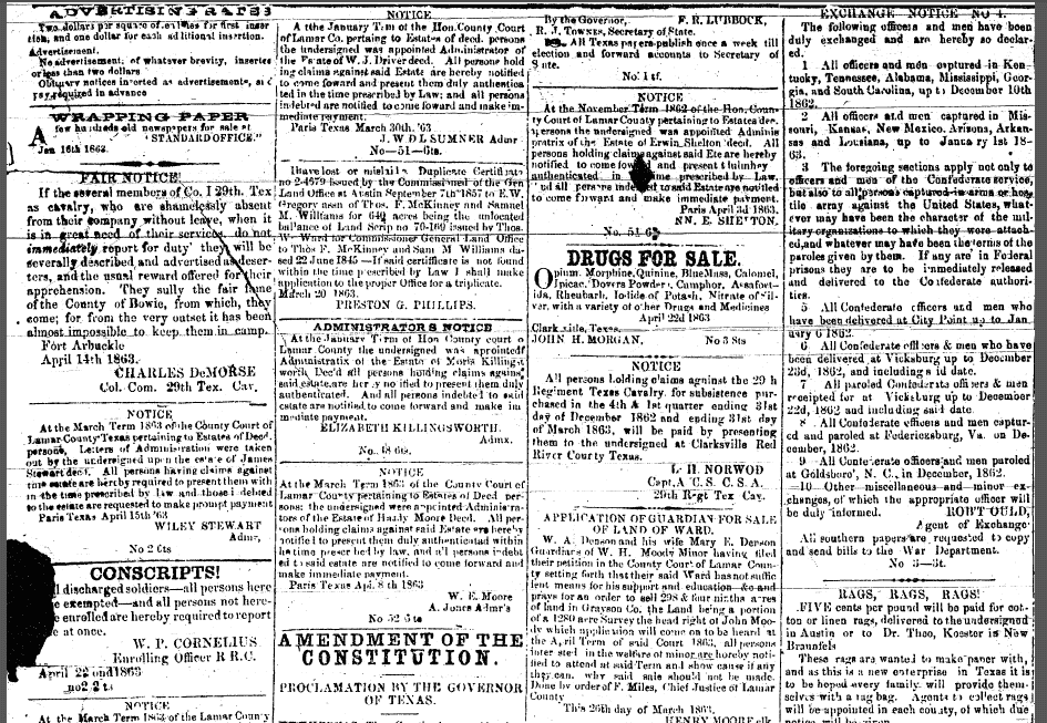 classified ads, Standard newspaper 9 May 1863