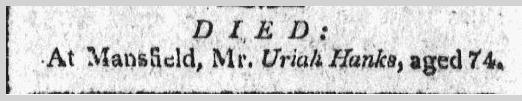 Uriah Hanks death notice, Windham Herald newspaper 20 July 1809