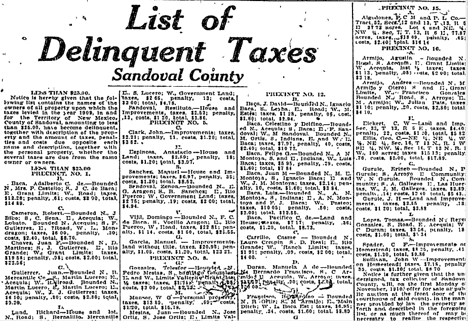 List of Delinquent Taxes, Sandoval County, Albuquerque Journal newspaper article article 26 August 1910