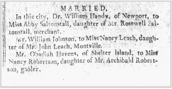 Havens-Robertson wedding notice, Bee newspaper article 3 July 1799