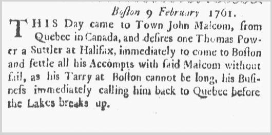 notice about Malcom-Power meeting, Boston Gazette newspaper article 16 February 1761