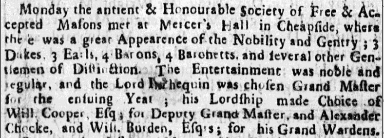 notice of a Masons meeting, Boston News-Letter newspaper article 25 May 1727