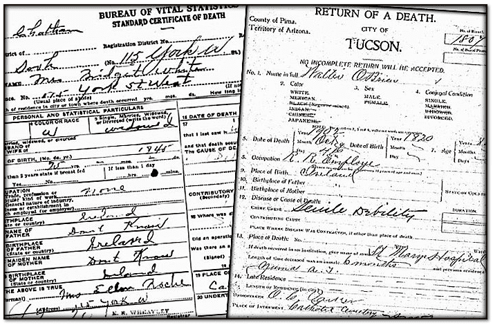 Irish American death certificates