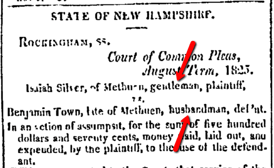 State of New Hampshire silver-town legal notice, Daily National Intelligencer newspaper article 23 November 1825