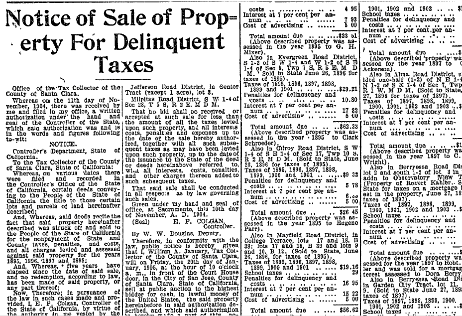 Notice of Sale of Property for Delinquent Taxes, Evening News newspaper article 11 January 1905
