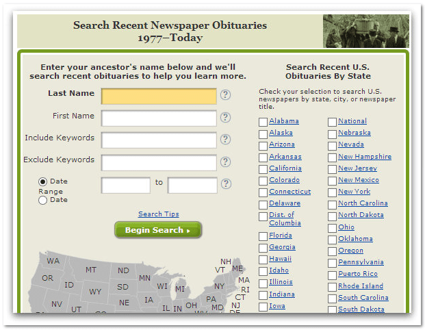 GenealogyBank's search form for Recent Newspaper Obituaries