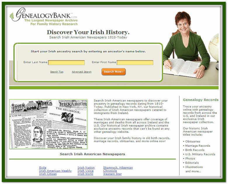 GenealogyBank's Irish American newspapers search form