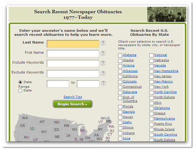 "GenealogyBank's ""Recent Newspaper Obituaries"" search box"