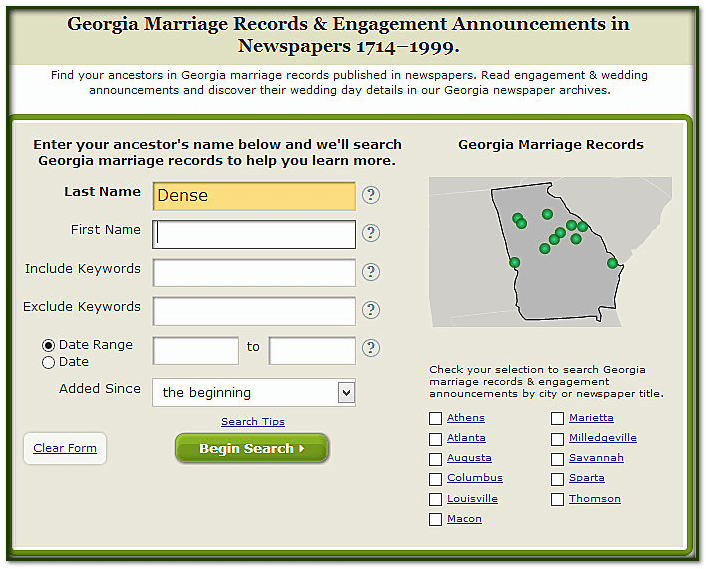 GenealogyBank search page for Georgia Marriage Records & Engagement Announcements