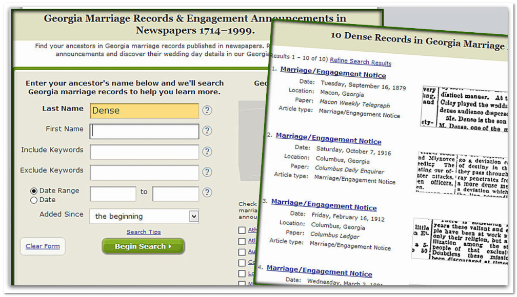 GenealogyBank search box and search results page for Dense wedding