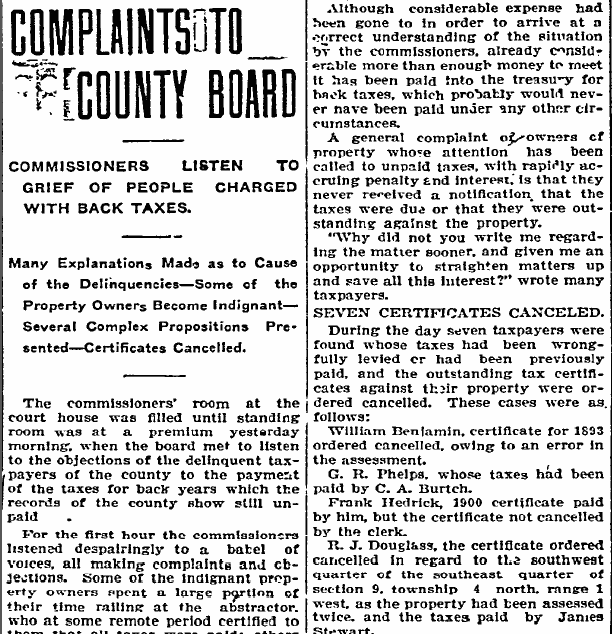 Complaints to County Board, Idaho Statesman newspaper article 17 November 1903