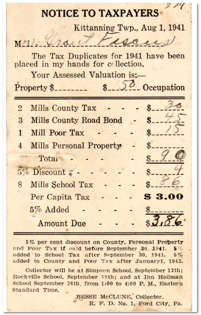 1941 Pennsylvania tax notice
