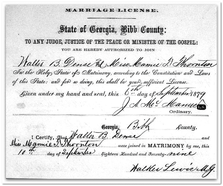 marriage certificate for Walter B. Dense and Mamie T. Thornton