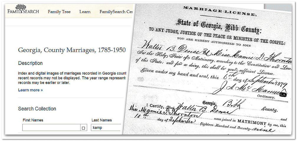 marriage certificate for Walter B. Dense and Mamie T. Thornton found using FamilySearch's Georgia marriage records