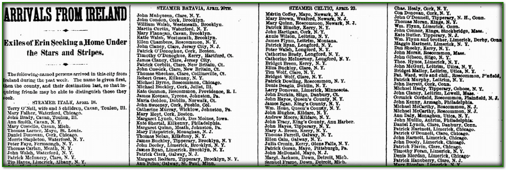 Arrivals from Ireland, Irish Nation newspaper article 29 April 1882