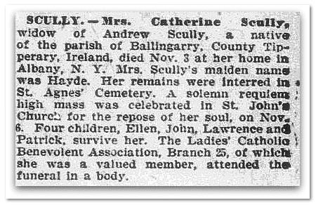 Catherine Scully obituary, Irish World News newspaper article 2 December 1893