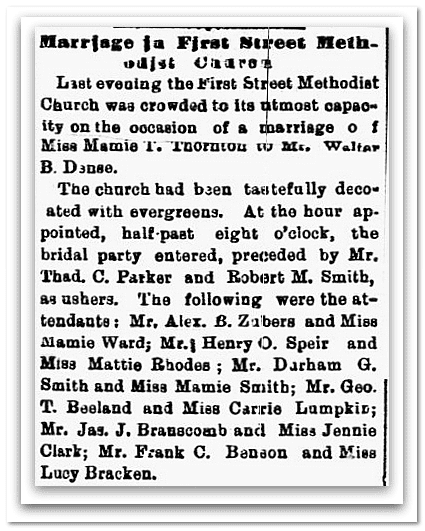 Marriage in First Street Methodist Church, Macon Daily Telegraph newspaper article 16 September 1879