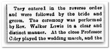 Marriage in First Street Methodist Church, Macon Daily Telegraph newspaper article 16 September 1879, page 4