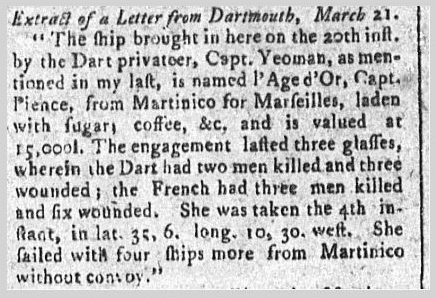 "notice about the privateer ""Dart,"" New-York Gazette, and Weekly Mercury newspaper article 29 May 1780"