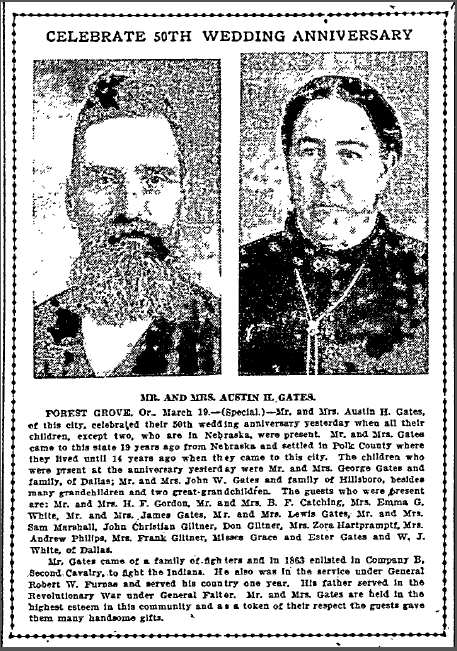 Mr. and Mrs. Austin H. Gates Celebrate 50th Wedding Anniversary, Oregonian newspaper article 20 March 1908